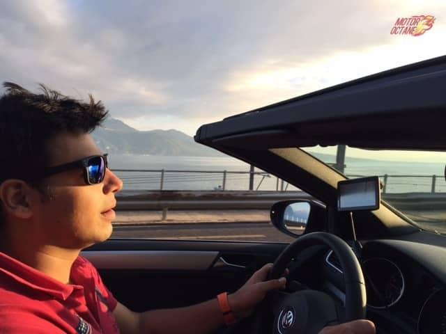 Driving next to Lake Geneva