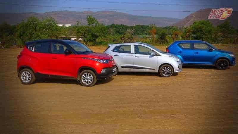 Maruti Ignis vs Hyundai Grand i10 vs Mahindra KUV100 sid