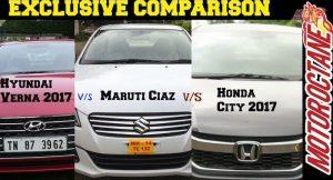 Hyundai Verna 2017 vs MAruti Ciaz vs Honda City 2017