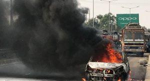 Tata Zest catches fire