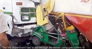 Bus racing crash Delhi