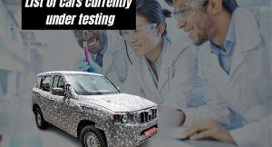 cars under testing